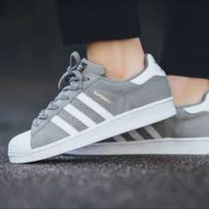 ADIDAS GRAY WHITE LEATHER SUPERSTAR SNEAKERS SZ 6